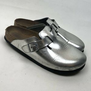 Birkenstock Silver Women's Closed Toe Sz 40 US 9